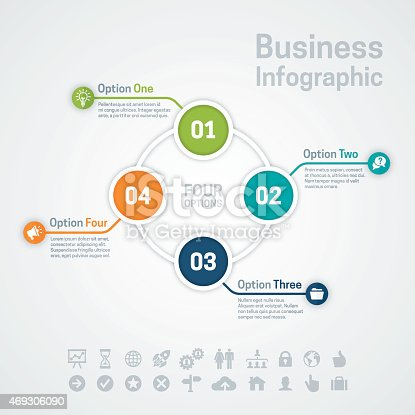Business infographic circle options or diagram with four options, space for your text and extra icons and symbols. EPS 10 file. Transparency effects used on highlight elements.
