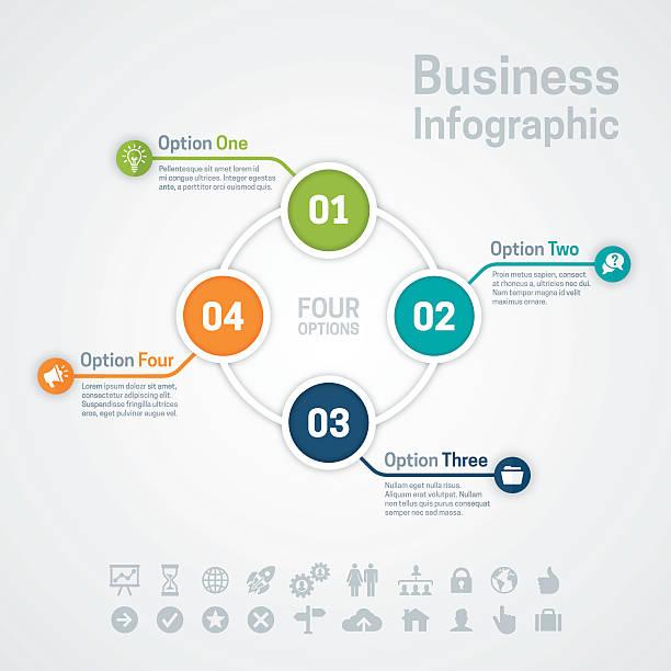 vier option business infographic tabelle - einzelnes tier stock-grafiken, -clipart, -cartoons und -symbole