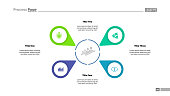 Four option diagram slide template. Business data. Step, map pointer. Creative concept for infographic, presentation, report. Can be used for topics like economics, research