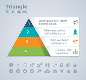Four item pyramid triangle infographic infographic concept with space for your copy. EPS 10 file. Transparency effects used on highlight elements.