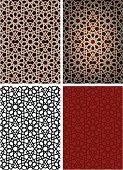 Four options for black star Islamic tiles