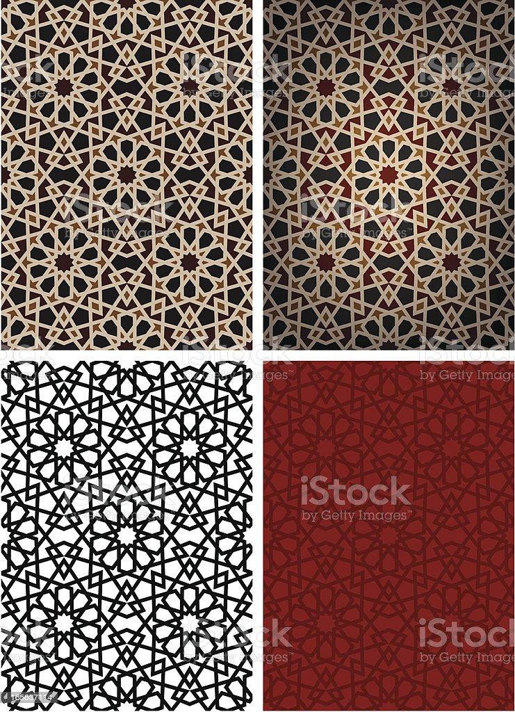 Four options for black star Islamic tiles vector art illustration