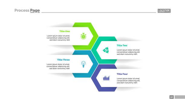 four options plan slide template - cztery przedmioty stock illustrations