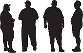 Vector silhouettes of four different overweight men.