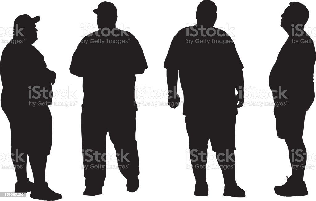 Four Overweight men Silhouettes vector art illustration