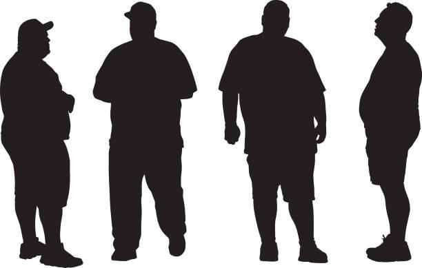 illustrazioni stock, clip art, cartoni animati e icone di tendenza di four overweight men silhouettes - obesity