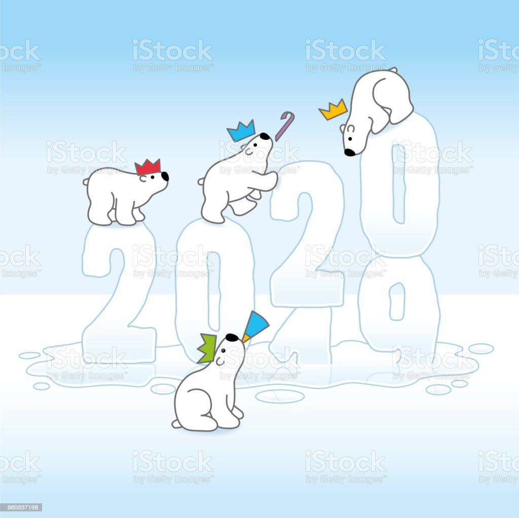 Four Partying Polar Bears Balancing on Changing Year 2019-2020 on Melting Ice vector art illustration