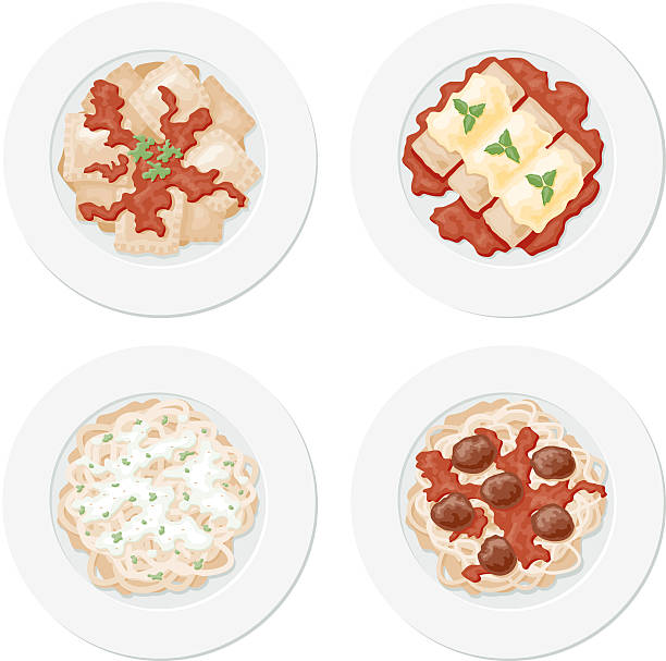 Four Pastas An overhead view of 4 plates of pasta: ravioli, canneloni, fettucini alfredo and spaghetti with meatballs. No gradients were used when creating this illustration. cannelloni stock illustrations
