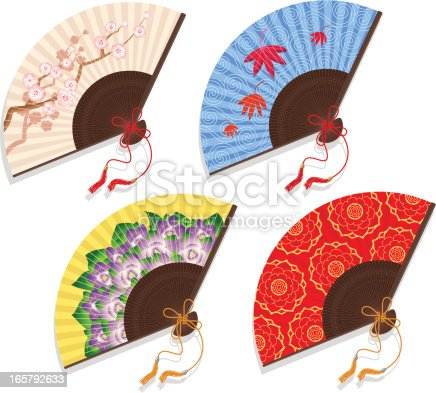 Four beautiful Asian fans isolated on a white background.