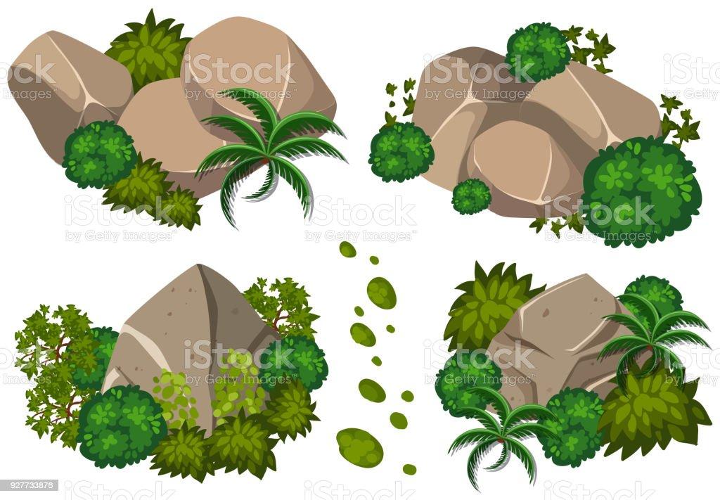 Vier Muster von Felsen und Bäumen – Vektorgrafik