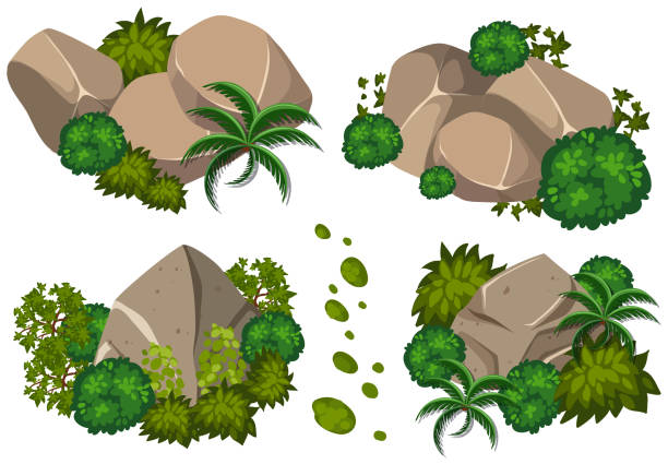 Four patterns of rocks and trees Four patterns of rocks and trees illustration moss stock illustrations