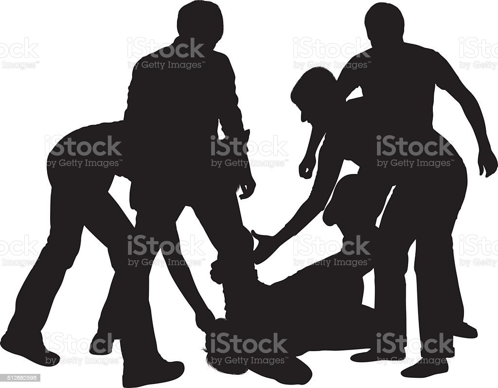Four people beating up a fifth person vector art illustration