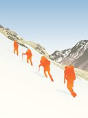 A group hiking up the side of a mountain through snow.  Includes EPS, AI CS2 and Hi-res JPG.