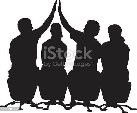 Four people silhouettes sitting in a row men high fivehttp://www.twodozendesign.info/i/1.png