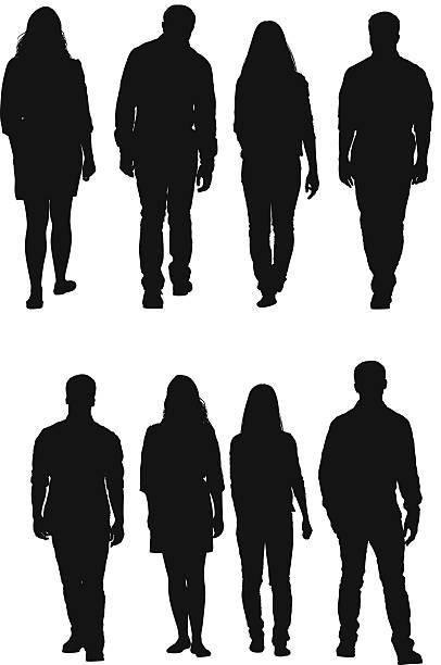 bildbanksillustrationer, clip art samt tecknat material och ikoner med four people walking - young couple
