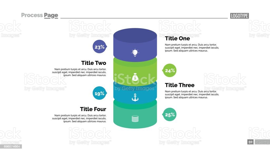 Four Percentage Cylinders Slide Template vector art illustration