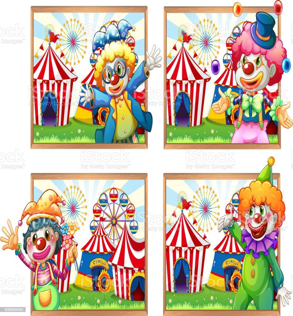 Ilustración de Cuatro Marco De Fotos De Payasos En El Circo y más ...
