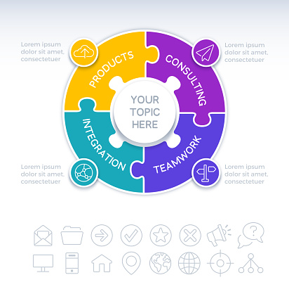 Four 4 object circle puzzle infographic concept with space for your copy.