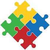 Four piece flat puzzle round infographic presentation.