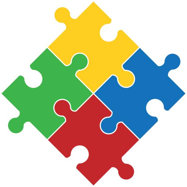 Four piece flat puzzle round infographic presentation. vector art illustration