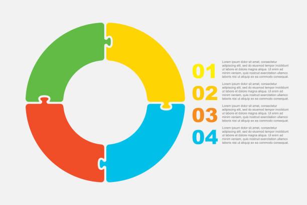 ilustrações de stock, clip art, desenhos animados e ícones de four pieces jigsaw puzzle circles info graphic. - inteiro