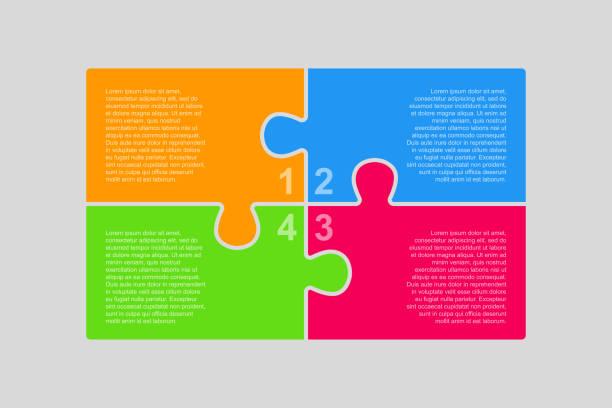 ilustrações de stock, clip art, desenhos animados e ícones de four pieces puzzle infographic of process. - inteiro