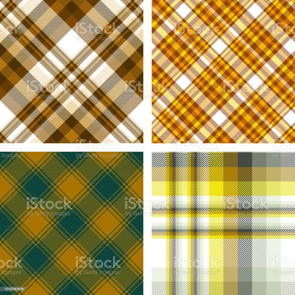 Vier Karierten Muster Im Herbst Farbpalette Von Braun Orange Beige