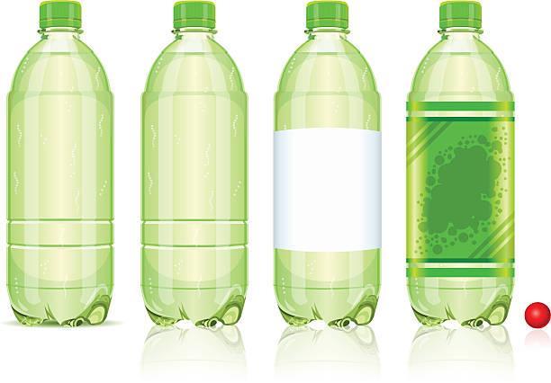 illustrazioni stock, clip art, cartoni animati e icone di tendenza di quattro bottiglie di plastica di bevande gassate con etichette - bottle soft drink