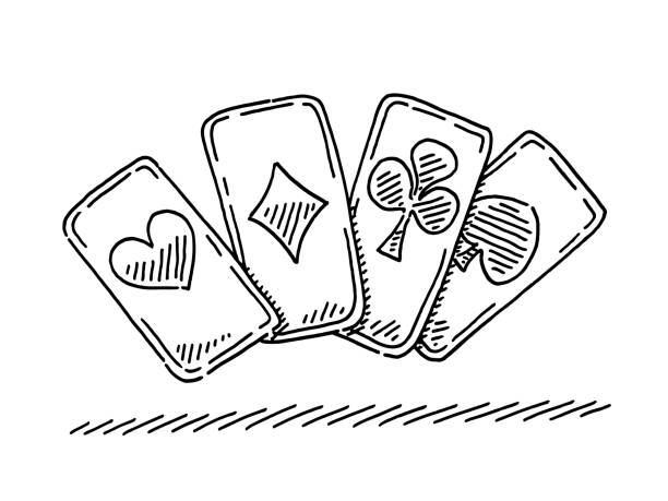 Four Playing Cards Symbol Drawing Hand-drawn vector drawing of a Four Playing Cards Symbol. Black-and-White sketch on a transparent background (.eps-file). Included files are EPS (v10) and Hi-Res JPG. game stock illustrations
