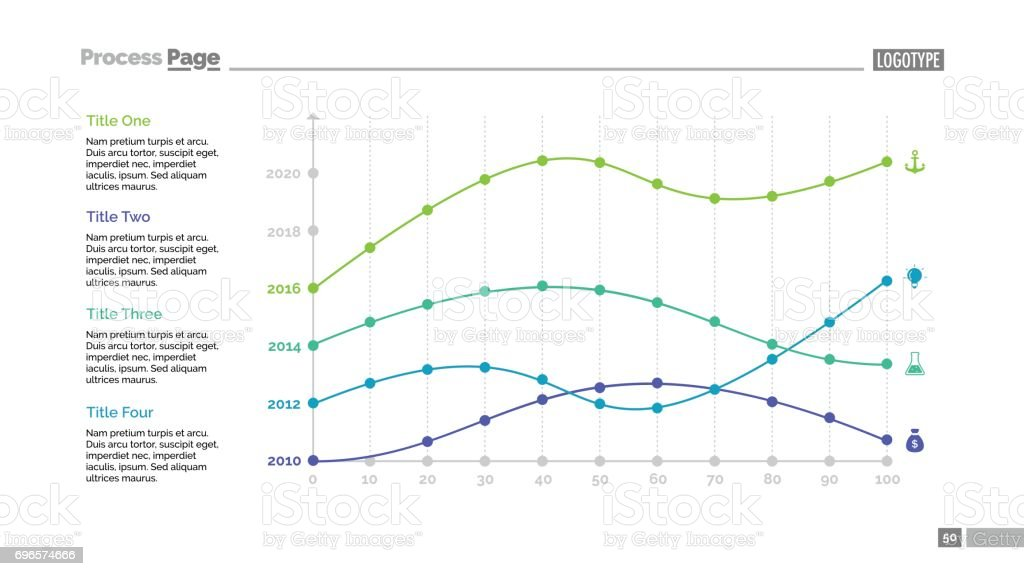 Four Point Charts Slide Template vector art illustration
