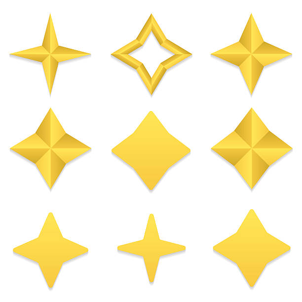 four point stars collection - acute angle stock illustrations