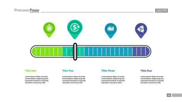 4 포인터 확장은 유 프로세스 차트 서식 파일 - 규모 stock illustrations