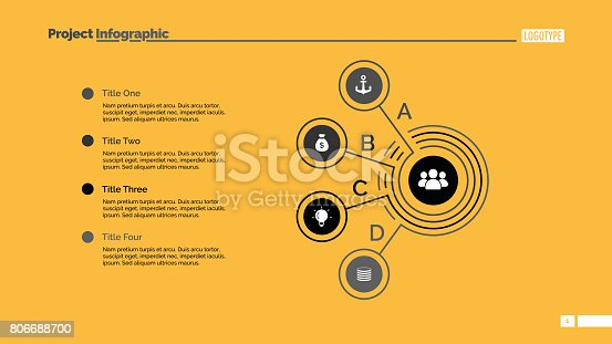 Four points process chart slide template. Business data. Graph, diagram. Creative concept for infographic, presentation. Can be used for topics like strategy, training.