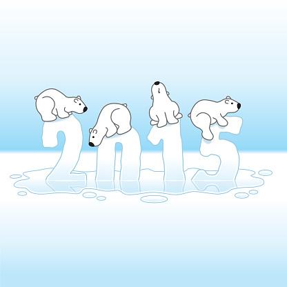 Four Polar Bears Balancing on Melting Year 2015 in Ice