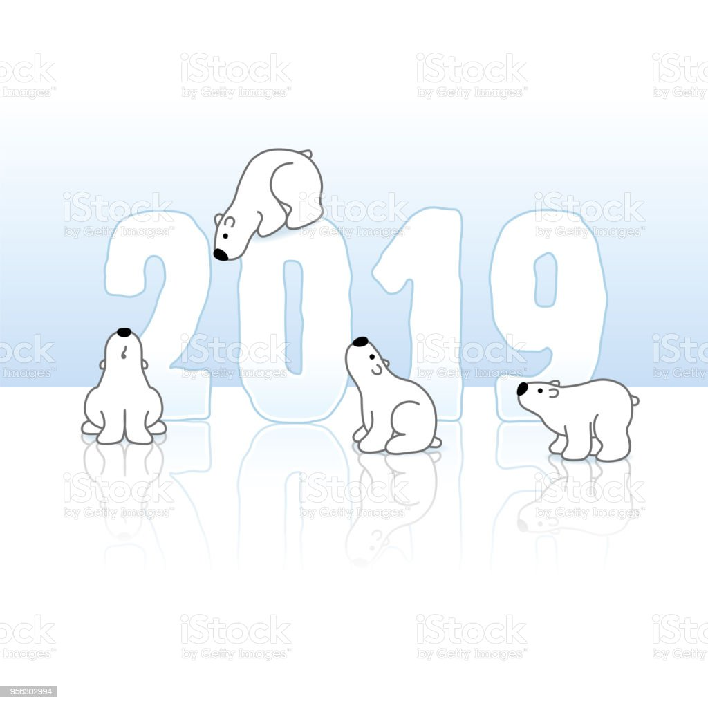 Four Polar Bears With Year 2019 In Ice Stock Vector Art & More ...