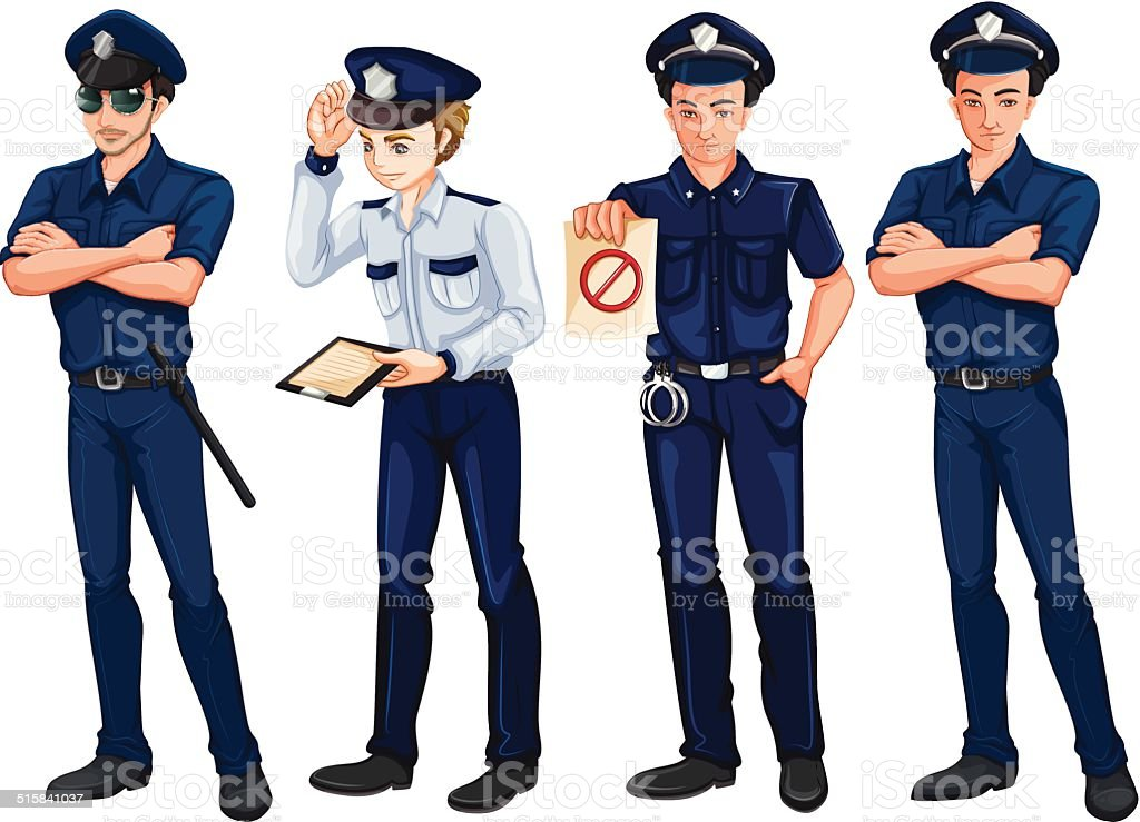 Four policemen vector art illustration