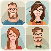 Vector set of four portraits of hipster girls and men.