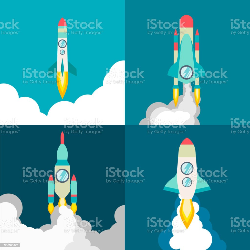 Four poster of rocket ship in a flat style. Space vector art illustration