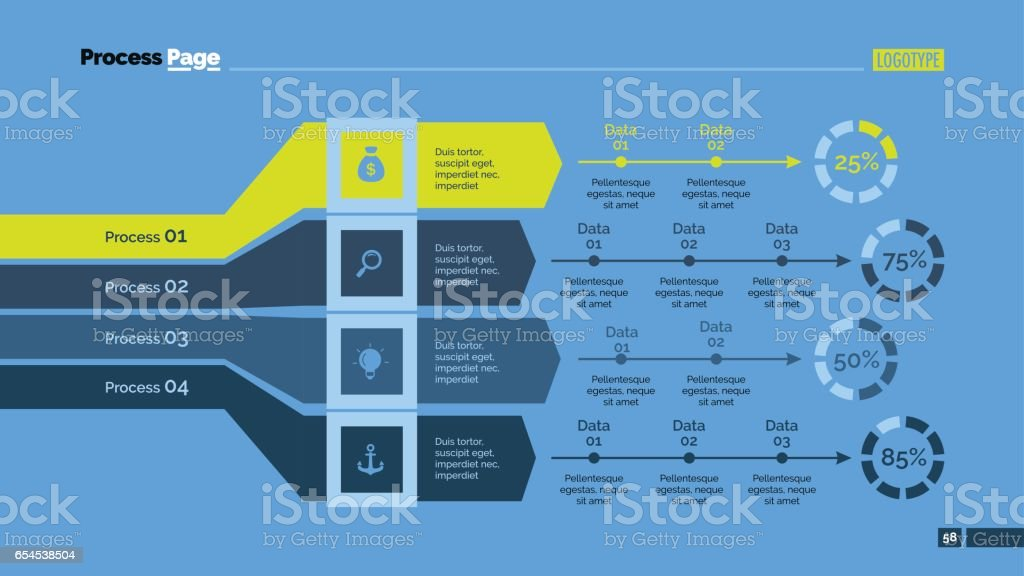 Four Processes Analysis Slide Template vector art illustration