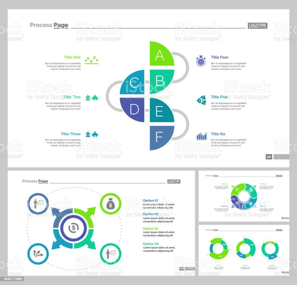 four production slide templates set stock vector art more images