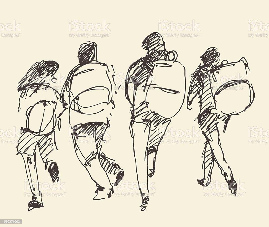 Four pupils go hand. Vector sketch. - ilustración de arte vectorial