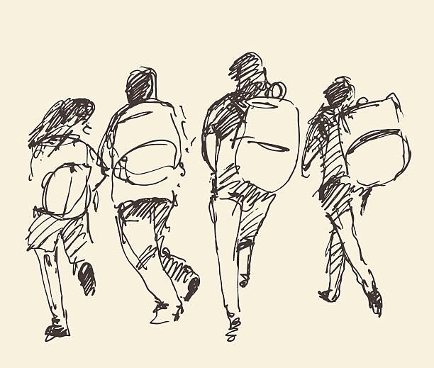 ilustraciones, imágenes clip art, dibujos animados e iconos de stock de four pupils go hand. vector sketch. - regreso a clases