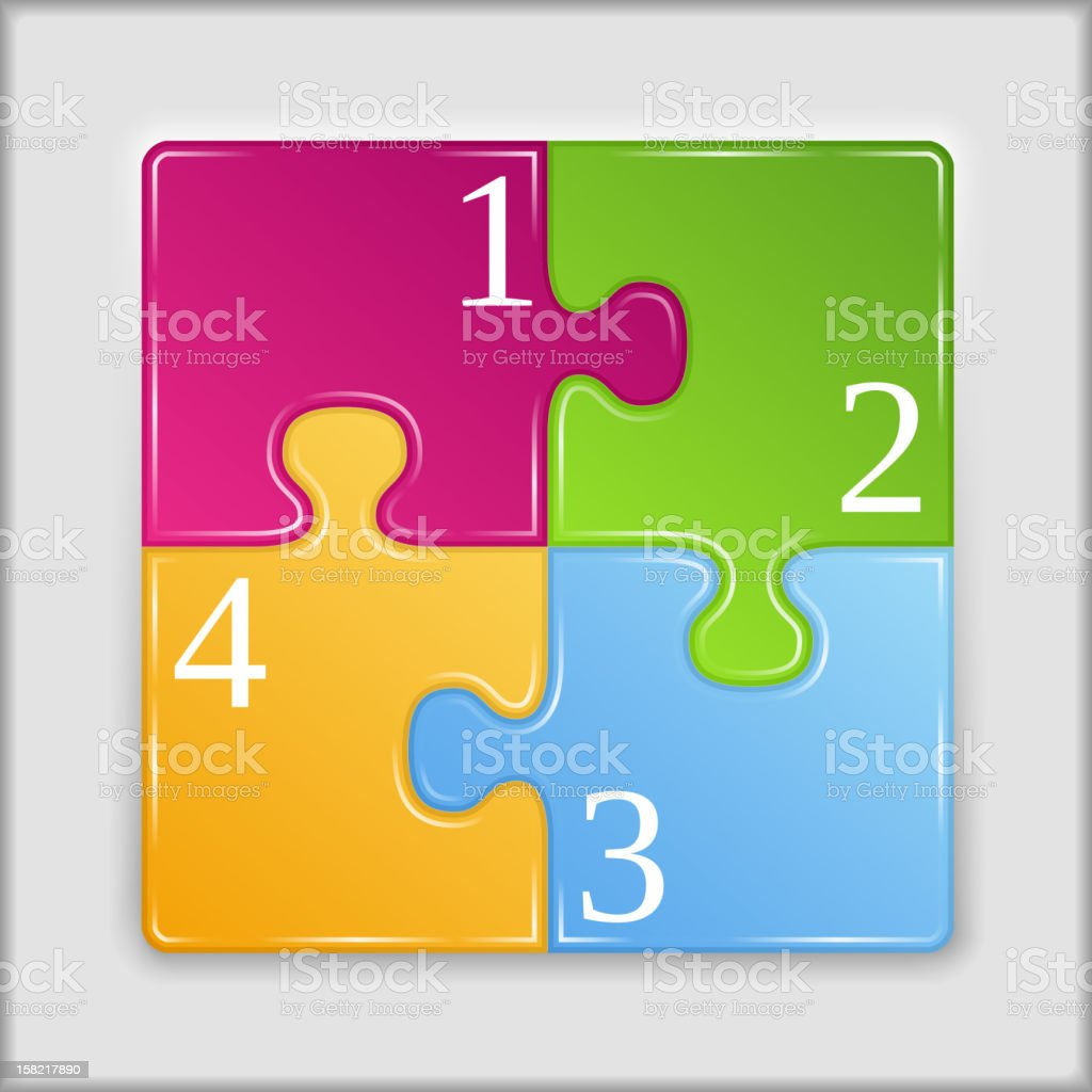 Four puzzle pieces joined together vector art illustration