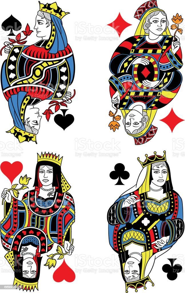 Four Queens French Inspiration Without Cards vector art illustration