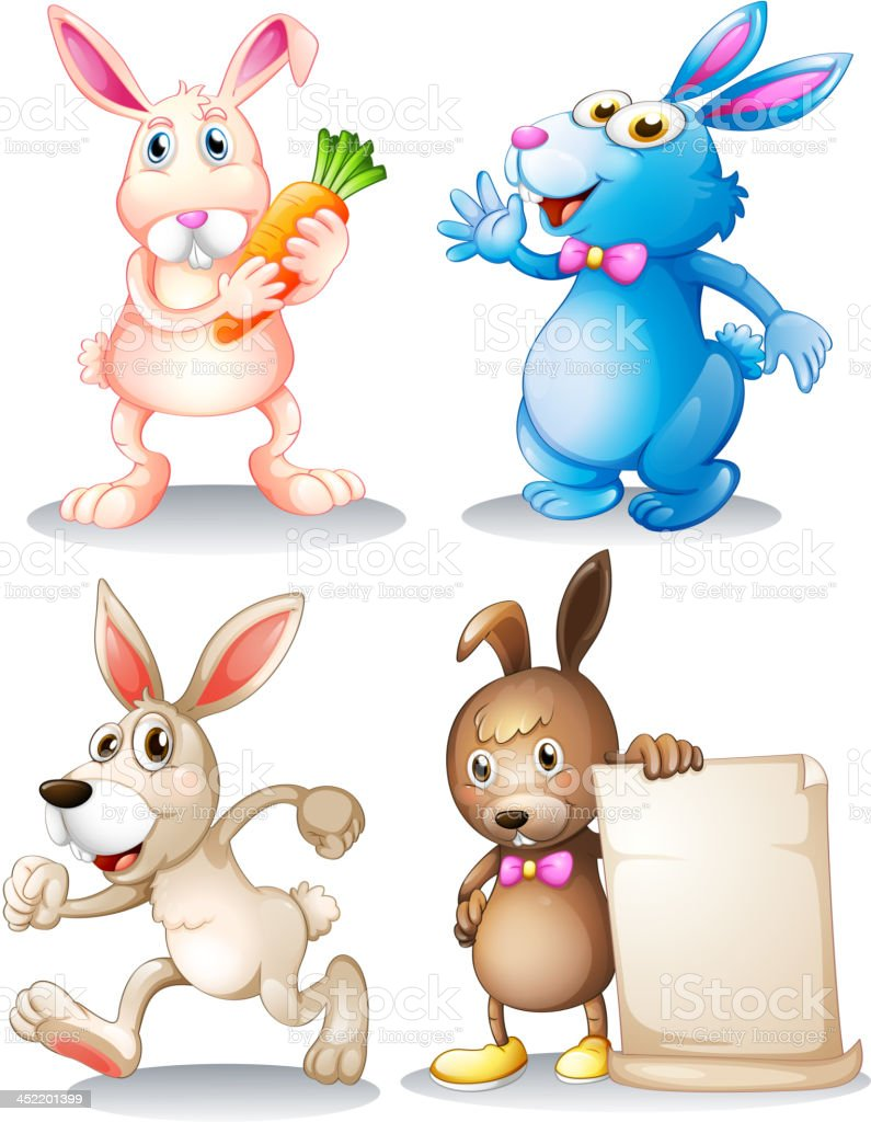 Four rabbits royalty-free stock vector art