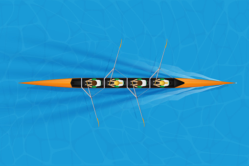 Four Racing shell with mixed paddlers