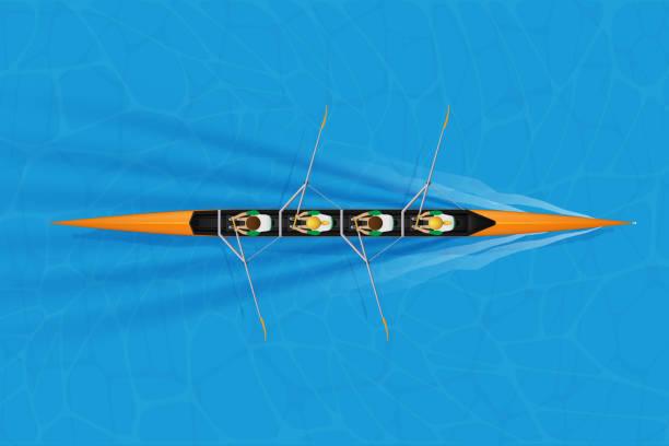 ilustrações, clipart, desenhos animados e ícones de escudo de competência de quatro com paddlers misturados - equipe esportiva