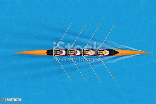 Four Racing shell with mixed paddlers for rowing sport on water surface. Four paddlers skull rowing mixed race. Woman and Man and inside boat. Top view. Vector Illustration