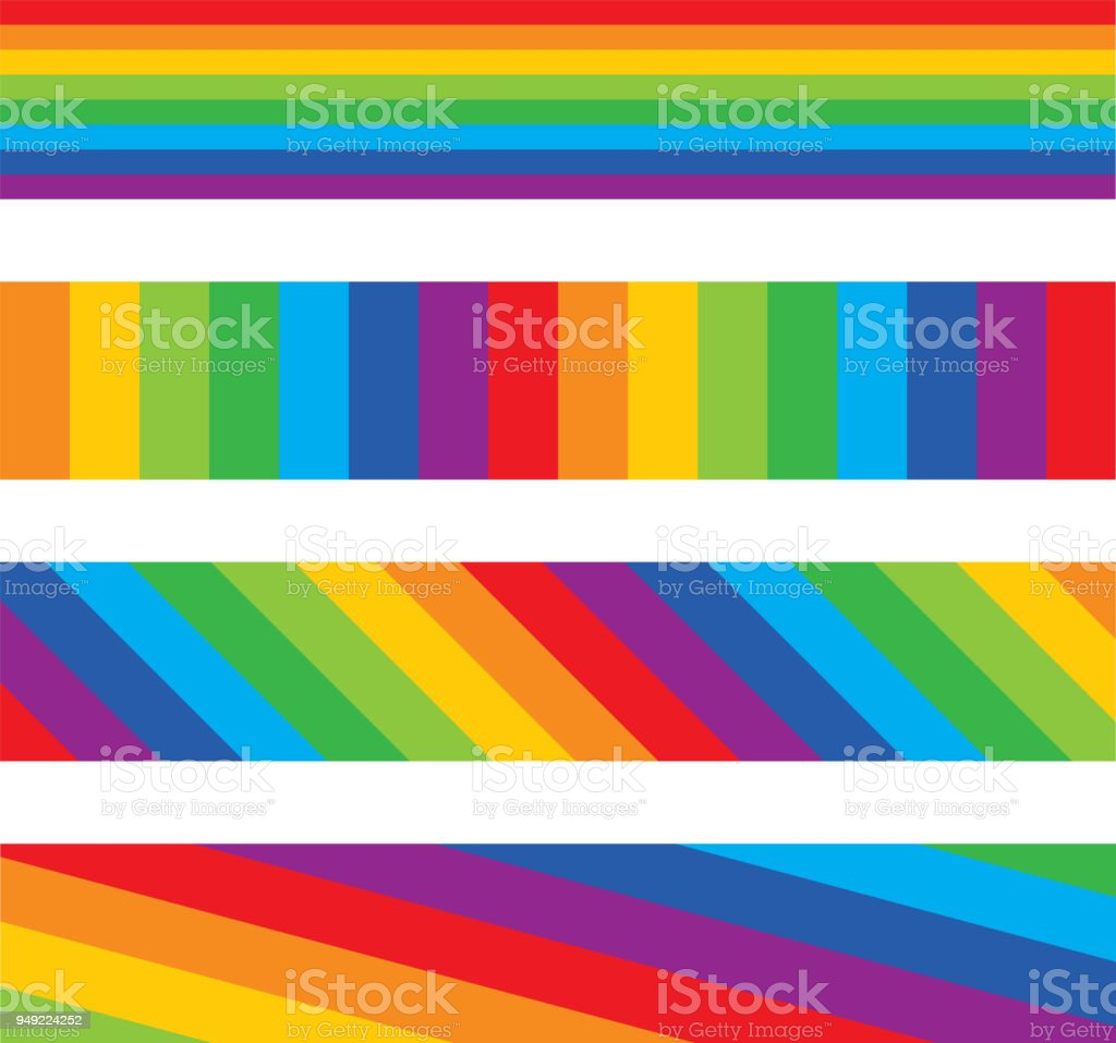 Four Rainbow Striped Banners vector art illustration