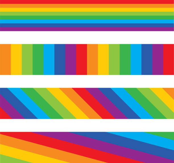 Four Rainbow Striped Banners Vector silhouette of four different rainbow striped banners. rainbow stock illustrations